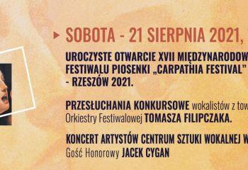"""Transmisja online: Otwarcie XVII Międzynarodowego Festiwalu Piosenki """"Carpathia Festival"""" i przesłuchania konkursowe"""